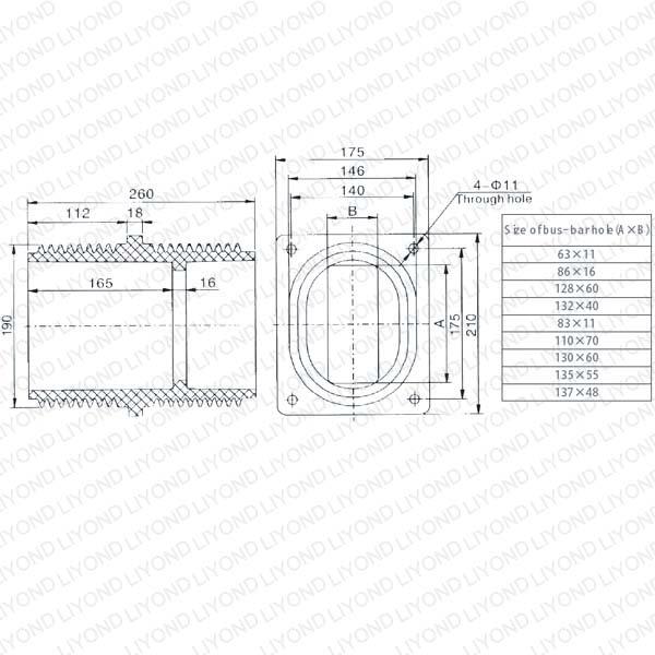 APG工艺高压环氧树脂穿墙套管LYC148