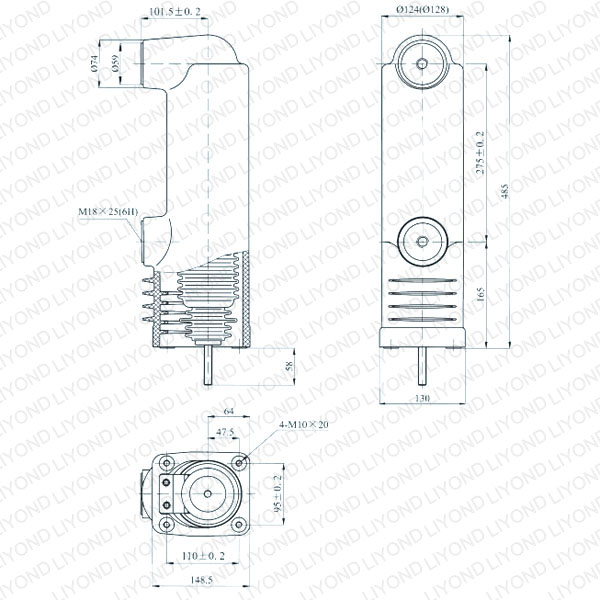 drawing Embedded pole for vacuum circuit breaker 12kV EEP-12/1600-31.5 EEP-12/1250-31.5