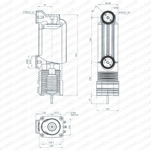 drawing Vacuum embedded pole for vacuum circuit breaker 24kV EEP-24/2000-31.5