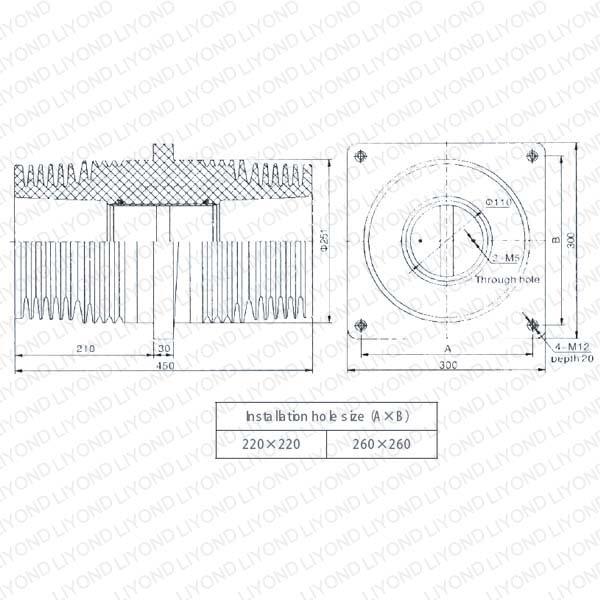 户内开关柜环氧树脂穿墙套管LYC156