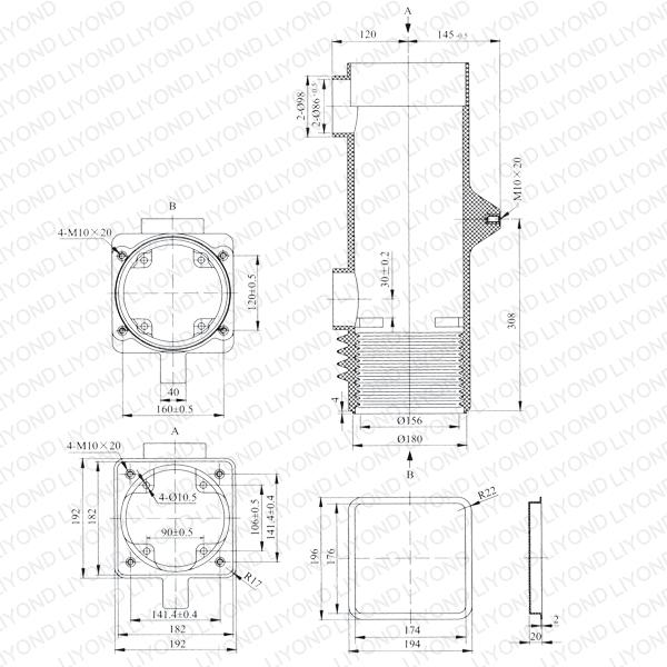 VS1-12 3150A 嵌入式断路器绝缘筒 LYC161