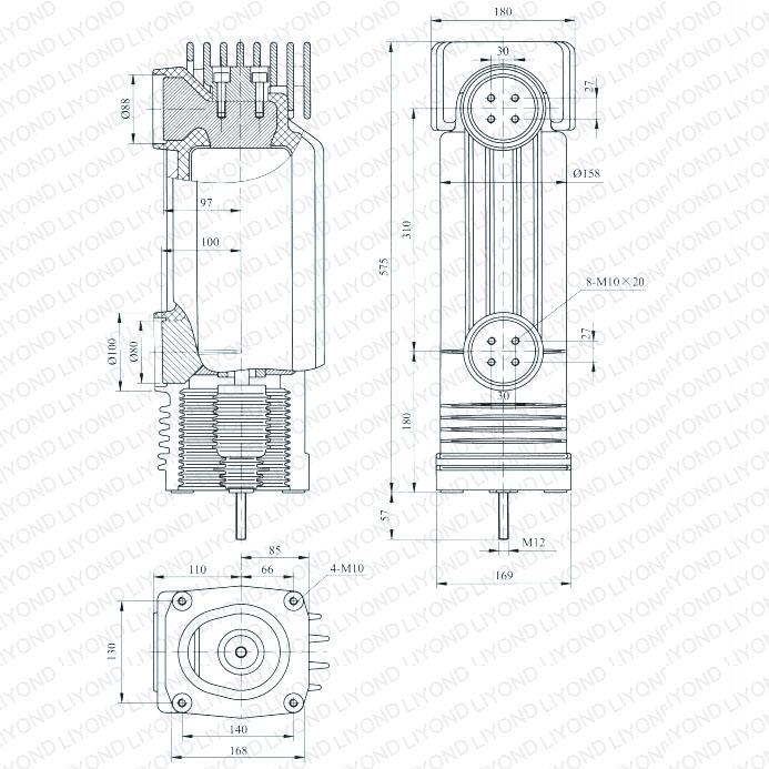 drawing EEP-12/4000-40  EEP-12/3150-40  12kV vacuum circuit breaker embedded poles