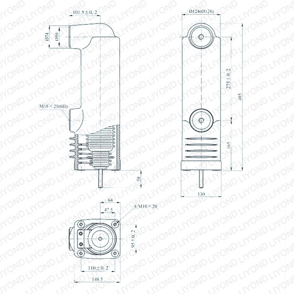 drawing Fixed type vacuum breaker tube 12kV EEP-12/1600-40 EEP-12/1250-40